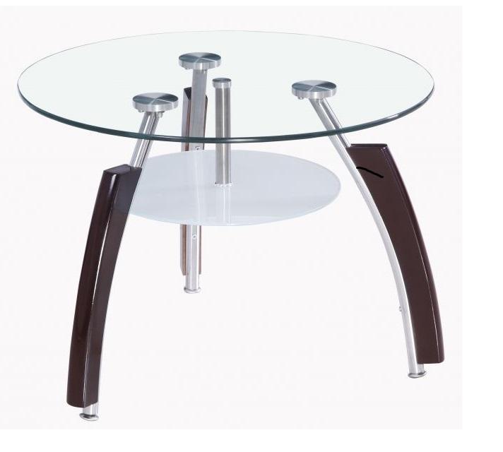 שולחן המתנה עגול  דגם דולפין  עם מדף תחתון רגלי ניקל