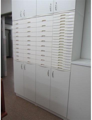 ארון משרדי +דלתות + מגירות פלסטיק לתיוק