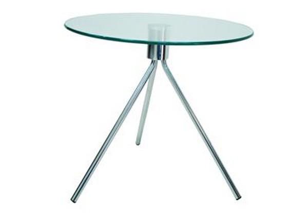 שולחן המתנה זכוכית עגול רגלי איקס ניקל